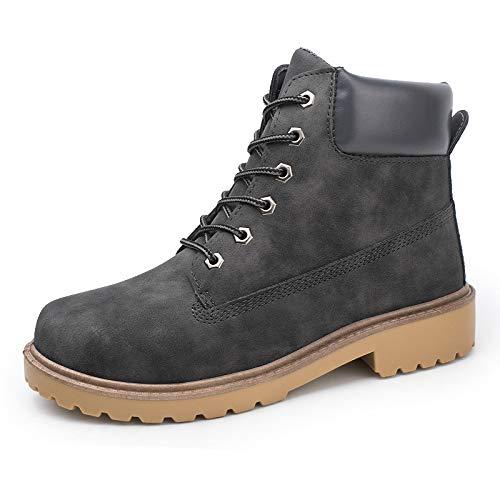 Bottes Homme Hiver, Manadlian Martin Bottes Cuir Classiques Chaudes Impermeables Bottines Plates Fourrées Boots Chaussures à Lacets Chaussures pour Hommes