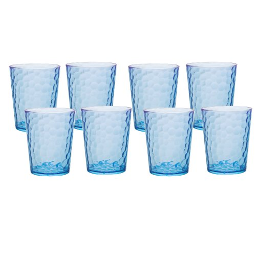Zak Designs Hammered Double Old Fashioned Glasses, 13-Ounce, Sky Blue, Set of 8 by Zak Designs 8 Double Old Fashioned