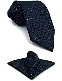 S&W SHLAX&WING Corbatas Sets for Men Navy Azul a cuadros Classic Long