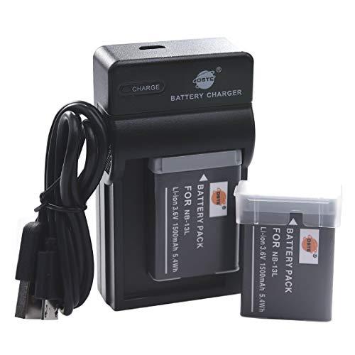 DSTE NB-13L Li-ion Batteria (2-Pacco) e Caricabatterie USB per Canon PowerShot G5X G7X G9X