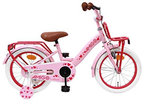 amiGO Sweetheart - Kinderfahrrad - 16 Zoll - Mädchen - mit Rücktritt und Stützräder - ab 4 Jahre - Rosa
