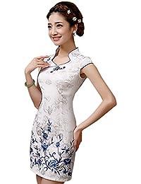 220d98f697c6 YueLian Qipao Donna al Ginocchio Vestito Corto Floreale