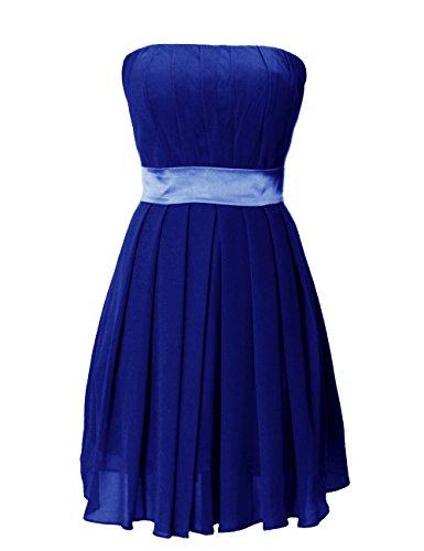 Dressystar Robe de demoiselle d'honneur/de soirée/de Cérémonie courte, Sans Bretelles, Plissée, au drapé, avec une ceinture, en Mousseline Bleu Saphir