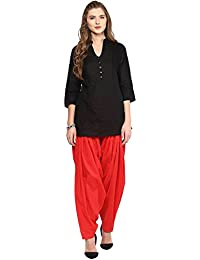 Pistaa Women's Cotton Short Black Kurta And Red Patiala Salwar Set With Plus Size