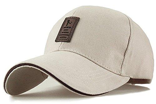 Bench Stock (Baseball Mütze für Erwachsene Baumwolle Mütze mit Leder Aufkleber Geeignet für Frühjahr Sommer und Herbst,Beige)