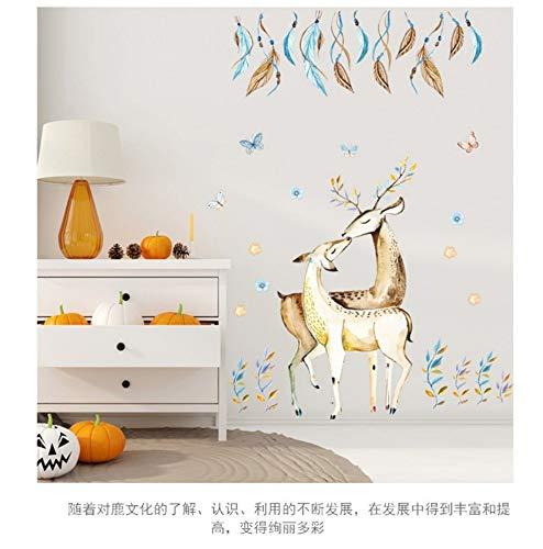 Wandaufkleber persönlichkeit feder hirschkuss wandaufkleber romantische schlafzimmer dekoration abnehmbare pvc