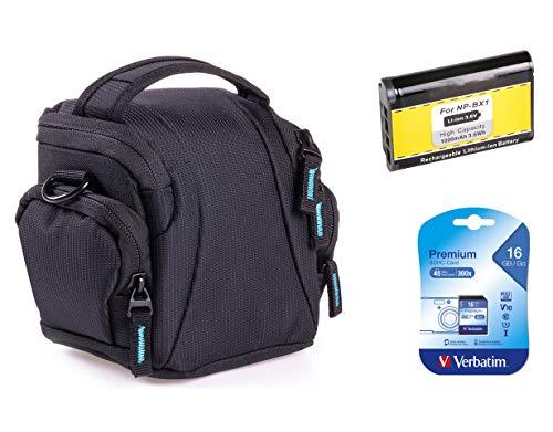 Etui de rechange pour Sony DSC-HX400V - Etui photo noir + batterie de rechange NP-BX1 + carte SD 16 Go