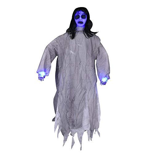 Mädchen Kostüm Schüchternes - GYFHMY Animierte hängende Screaming Ghost Halloween Dekoration, Finger und Gesicht Leuchten, Ohrfeigen oder Sound Aktivierung, Scary Festival Haunted House Party Prop Decor