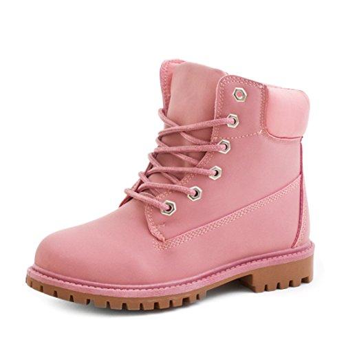 Marimo Trendige Damen Schnür Boots Kurzschaft Stiefeletten in Lederoptik Pink 38 - Rosa Timberland Boots Frauen