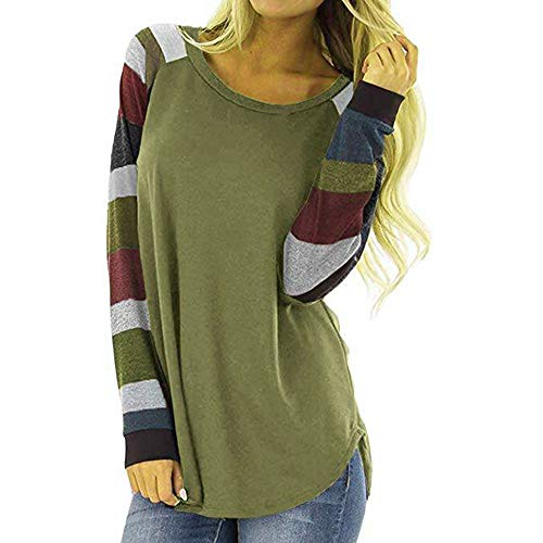 Bluelucon Damen Langarm Gestreift Strick Lose Oversize Bluse -