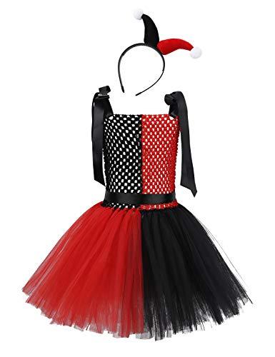 Mit Tutu Clown Kostüm - MSemis Clown Kostüm mit Haarreif für Mädchen Kinder Halloween Kostüm Schwarz Rot Kleid Tutu Harlekin Kostüm Verkleidung Set Gr. 80-152 Schwarz & Rot 98-110/3-5 Jahre