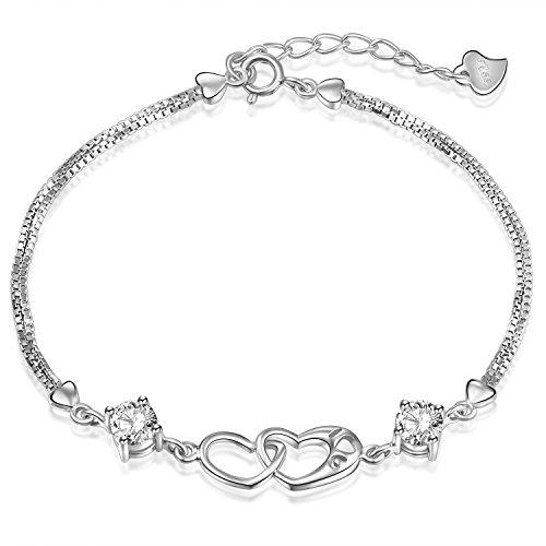 Ategazza Armband aus 925 Sterling Silber Doppel Herz Zirkonia