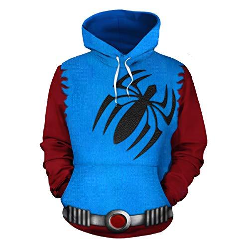 Männer Spider Kostüm - Jinlan Herren Scarlet Spider Printed Kostüm Cosplay Sweatshirt mit Hut Pullover Hoodie (L, Blau)