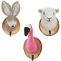 Transomnia Felt Animal Trophy Door Hooks Set of 3 Flamingo Rabbit Sheep for Children