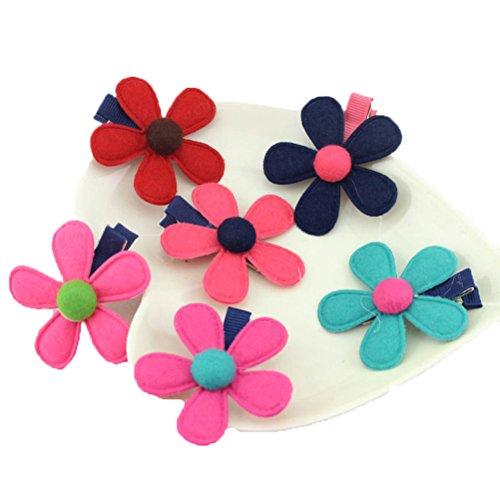 HBF 6 stk mehrfarbig Haarspange Haarband Accessoire Fliege Schleife mit Blumen Deko für Kinder (Diy Kostüme Kleinkind)