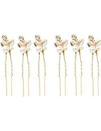 6pcs Accesorios Del Pelo Boda De Novia Dama De Trébol De Perlas De Imitación Horquillas Clip Color Oro
