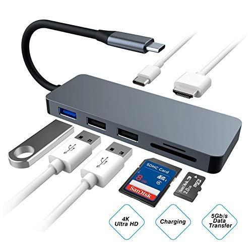 Ling-mi USB C Hub.7 en 1 Adaptador de Cubo de Aluminio Tipo C con Puertos HDMI 4K, Lector de Tarjetas SD/Micro SD, Puerto USB 3.0 para Galaxy / S8 / S9 +, Huawei Mate 20 / P20.MacBook Pro, Chromebook