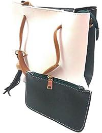 BitSh Women's White Green Handbag Clutch Set