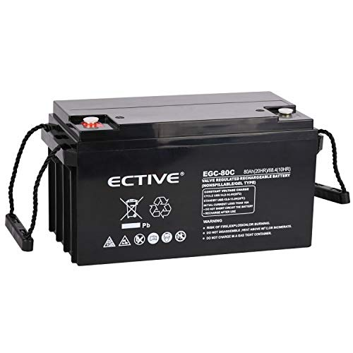 ECTIVE 12V 80Ah Gel Solarbatterie Deep Cycle Batterie extrem Zyklenfest in 6 Varianten (VRLA)