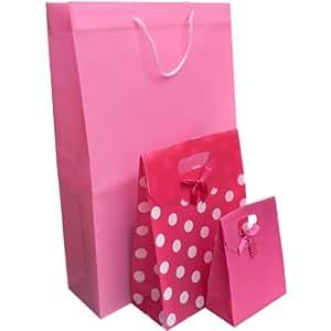 LOT de 3 x Sac Sachet Pochette Cadeau - Indéchirable PVC avec Noeud (petit et moyen modèles) et cordon (grand modèle) - Fermeture Scratch Bag Self Adhesive - Baptême Mariage St Valentin Noël Anniversaire ... ROSE