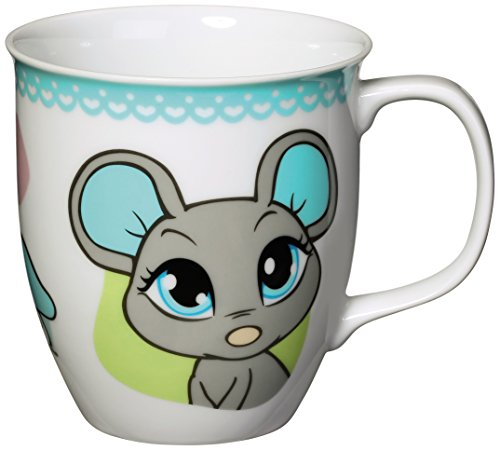 Nici 37792 Tasse graue Maus, Porzellan, 9,5 x 10 cm