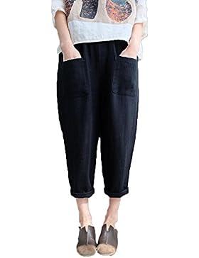 Juqilu Pantalones Playa Mujer -3/4 Pantalone Loose Fit Harem Pantalón Baggy Cintura Elástica Casual Deportes Cómodo...