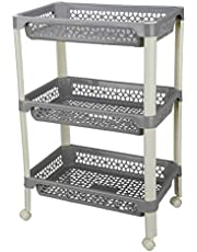 Kolorr Florina 3 Rack Large Size Trolley Kitchen Storage Cart with Fruit Vegetable Storage Baskets and Wheels Heavy Duty Plastic