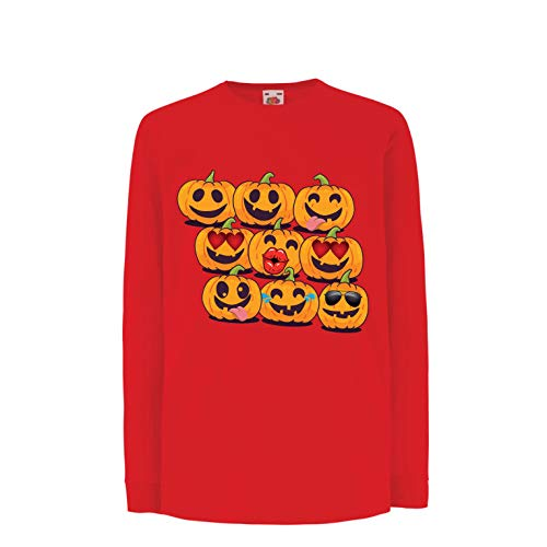 lepni.me Kinder-T-Shirt mit Langen Ärmeln Kürbis Emoji Lustiges Halloween-Party-Kostüm (9-11 Years Rot Mehrfarben)