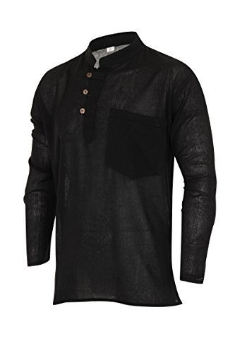 ThaiUK Chemise 100% coton Uni Noir