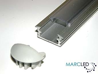 5 x Profilé LED ALU anodisé 1M, avec couvercle transparent (PMMA) et embouts: 5 x Aluminium Profile for LED Strips; Recessed, Anodized SILVER, set with TRANSPARENT Cover and Two End Caps; 1000mm