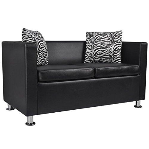 Vidaxl divano 2 posti in pelle artificiale nero divanetto sofà poltrona arredo