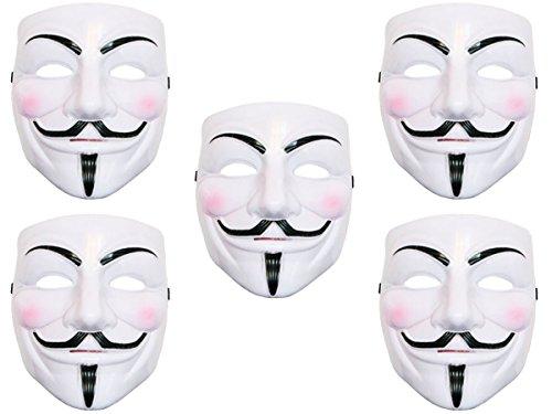 Lot de 5 Masque V vendetta Anonymous anonyme horreur diable fantôme déguisement HALLOWEEN COSPLAY (Alsino Mas-05 ) a sangle élastique, facile à porter et convenable pour adultes et ados accessoires