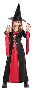 Carnival Toys 65015-Bruja con Sombrero, Disfraz, 6-7años, Color Negro/Rojo