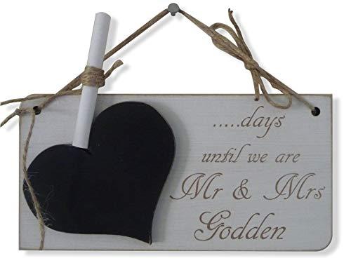 personalisierbar Hochzeit Countdown Schild, Tafel, Tage, bis wir sind Herr und Frau, Verlobung Geschenk (Tafel-hochzeits-countdown)