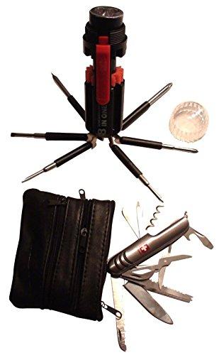 DAS GESCHENK SET: 3 in 1 Taschenmesser Multifunktion (Edelstahl) + Leder-Etui + 8in1 Multi-Schraubendreher mit LED Taschenlampe