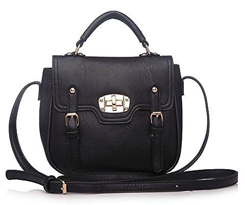 Big Handbag Shop Plain Small Buckle Effect Flap Over Top Handle Chic Bag (Black)