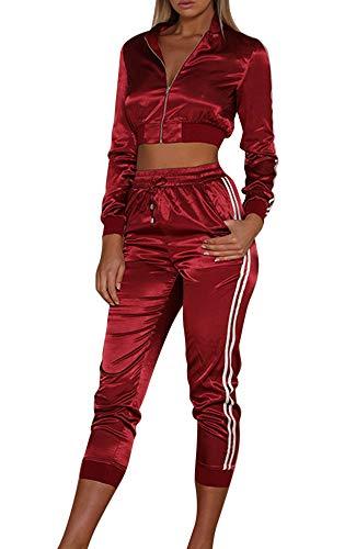 wenyujh Damen Bekleidungsset Sport Freizeit Pullover Hose Set Herbst 2 Teilig Samt Bauchweg Jacke Freizeithose Einfarbig (Large, Schwarz) (Weinrot-2, Medium)