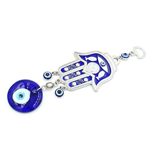 Decoración de pared turca con diseño de mano Jamsa contra el mal de ojo para colgar en la pared o en el coche, color azul, metal, Blue 03, 26cm*10cm