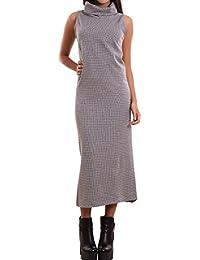 1bd87a8c7750 Vestito donna abito lungo lupetto aderente spacchi smanicato sexy nuovo  CJ-1804 [M,