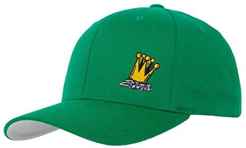 6-panel-garment Washed Twill (Flexfit Cap in Peppergreen mit Stick Crown von 2stoned Größe S/M (56cm - 58cm), Basecap für Damen und Herren)