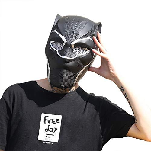 Panther Männer Kostüm - QWEASZER Marvel Avengers Black Panther Integralhelm Maske PVC, Film Cosplay Kostüm Zubehör, Halloween Maske Helm für Erwachsene Männer Kostüm,Black panther-50~61cm