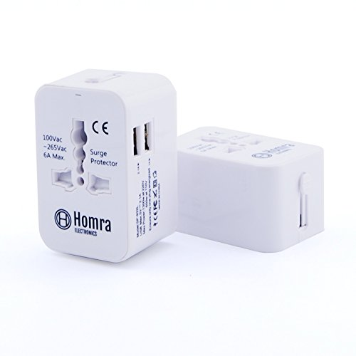 HOMRA - Universal-Reiseadapter - Reisestecker - Steckdosenadapter mit 2 USB-Anschlüssen