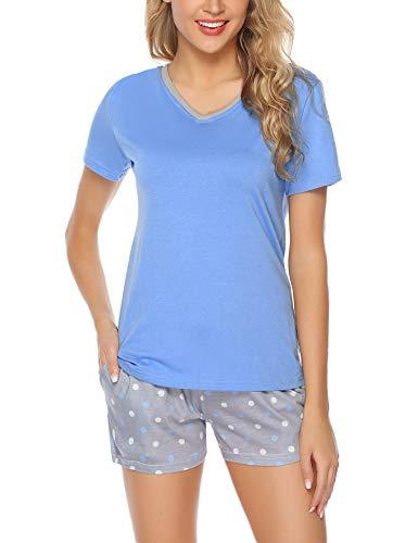 Aibrou Damen Pyjama Schlafanzug Baumwolle Kurz Streifen Nachtwäsche Nachthemd Hausanzug Set Kurzarm Rundhals-Ausschnitt für Sommer Hellblau S (Damen-pyjama)