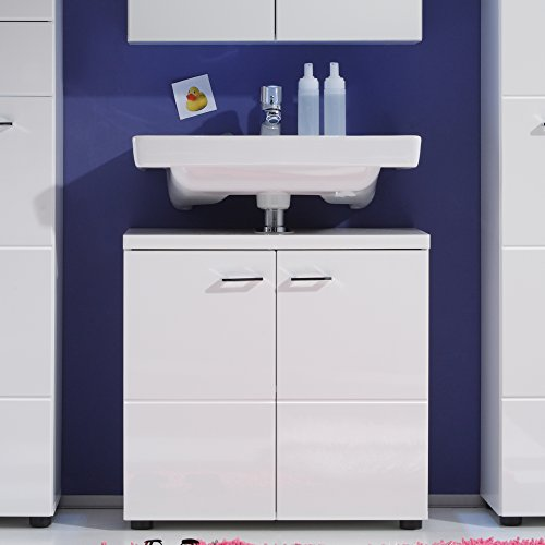 Trendteam Bad Waschbeckenunterschrank, Weiß Hochglanz - 3