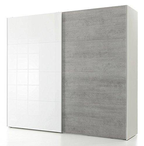 Armadio bianco con 2 ante scorrevoli color cemento e laccato bianco