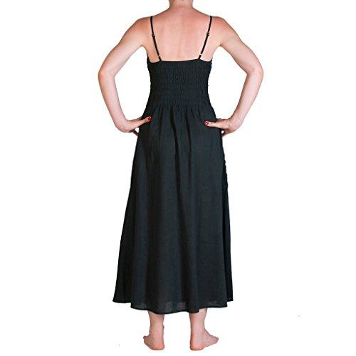 Panasiam® lange trachten Kleider, aus echter freshrunk Baumwolle, Unisize passt S bis M, kleine Auflage (Boutiqueware) ! 001 Schwarz