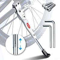HENMI Bike Stand 4 cm Height Adjustable and Universal Kickstand, Support for Mountain Bike, Road Bike, Fit Bike Wheel Diameter of 24 - 28 Inches, White