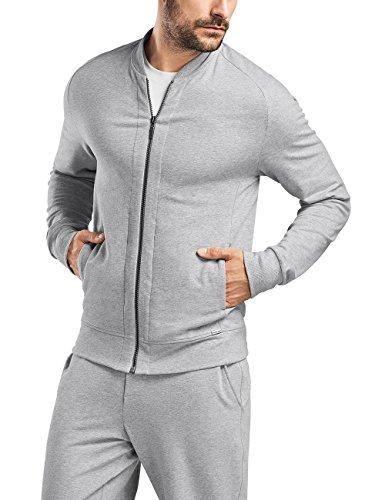 Hanro Herren Living Leisure Jacke Sportjacke, Grau (Grey Melange 1036), 48/50 (Herstellergröße: M) -