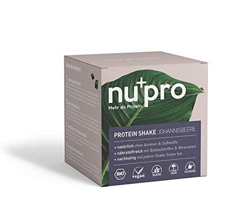 nupro Veganes Bio Protein Pulver -Johannisbeere- Ganzheitlicher Eiweiß Shake aus Pflanzlichen Proteinen zur Versorgung von Muskulatur & Darmflora [Ohne Soja, Aromen oder Süßstoff|1x200g] -