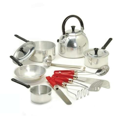Creative Minds Child Size Aluminum Cookware 13 Pc. Set for Pretend Play